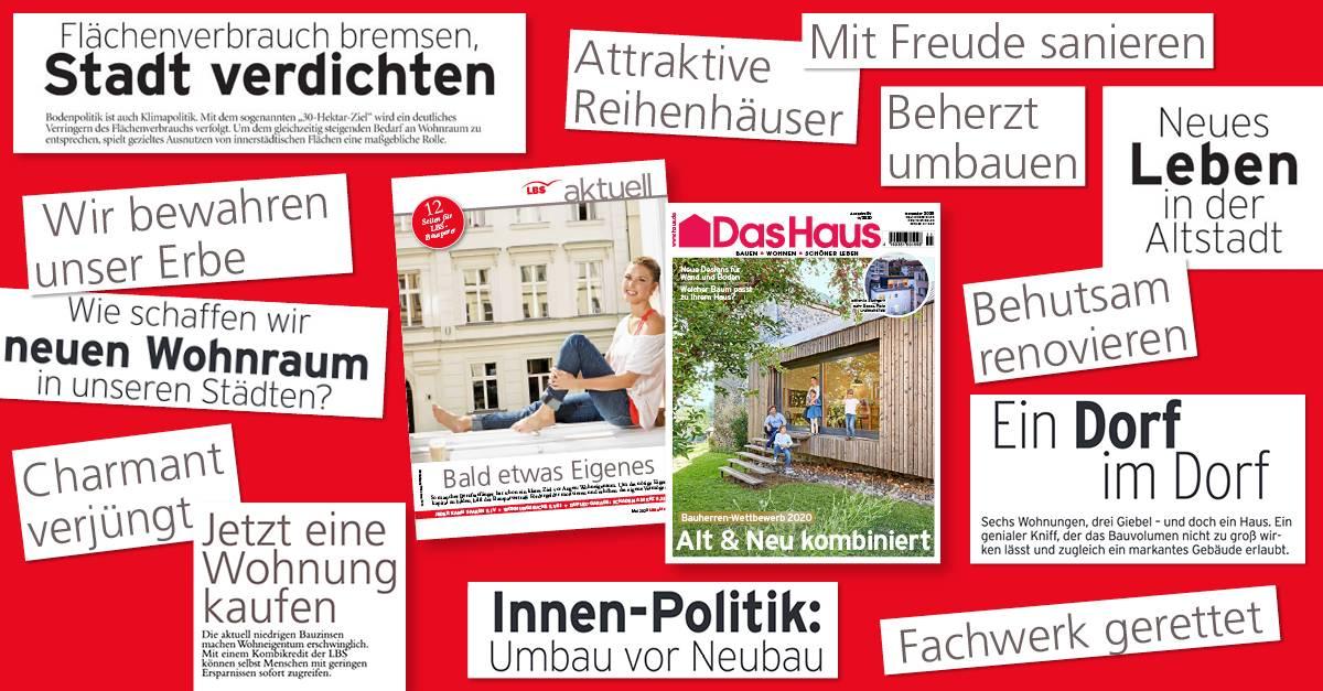 Collage aus Beiträgen in Das Haus zu verschiedenen Formen des Wohneigentums