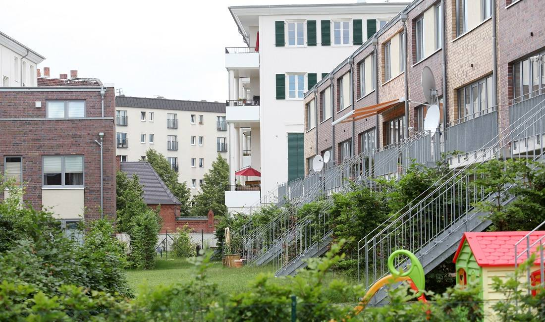 Gemischte Wohnformen im Neubaugebiet im Prenzlauer Berg in Berlin